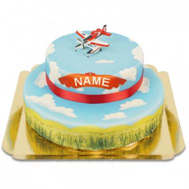 Planes-Held fliegend auf 2-stöckiger Wolken-Torte