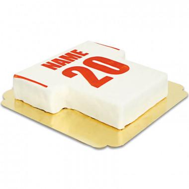 Fußballtrikot-Torte weiß mit rot