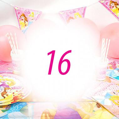 Partyset Prinzessinnen für 16 Kinder - nur Deko, ohne Torte