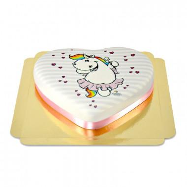 Pummeleinhorn-Torte in Herzform