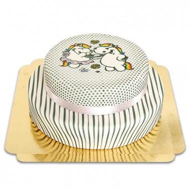Gemusterte Pummeleinhorn-Torte