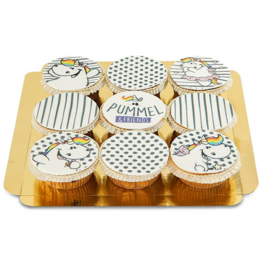 Gemusterte Pummeleinhorn-Cupcakes