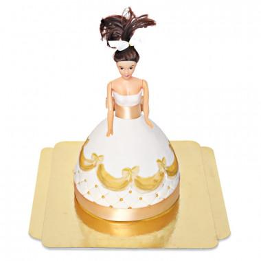 Deluxe Puppenprinzessin-Torte mit goldenem Kleid