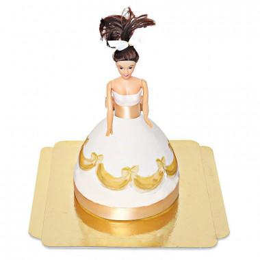 Puppenprinzessin-Torte mit goldenem Kleid