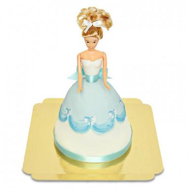 Puppenprinzessin-Torte mit blauem Kleid