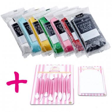 Rollfondant Set 7 Farben inkl. Tortenwerkzeug-Kombi