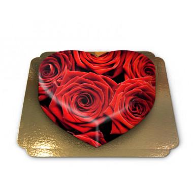 Rote Rosen-Torte in Herzform