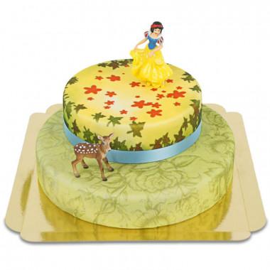 Schneewittchen auf zweistöckiger Märchen-Torte