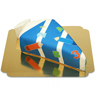 Schultüten-Torte mit Stiften in Dunkelblau