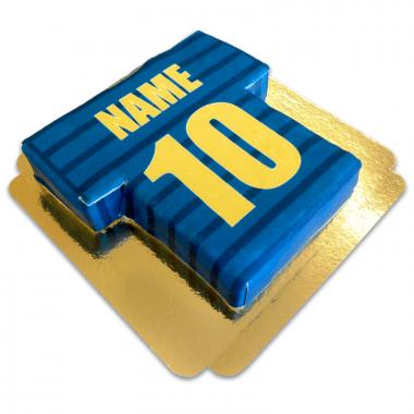 Fußballtrikot-Torte, blau mit gold