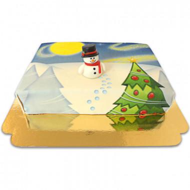 Schneemann aus Zucker auf Winterlandschafts-Torte