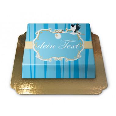 Storch mit Baby Torte, Blau