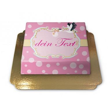 Storch mit Baby Torte, Pink