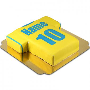 Fußballtrikot- Torte, gelb-blau