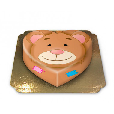 Teddybär-Torte in Herzform