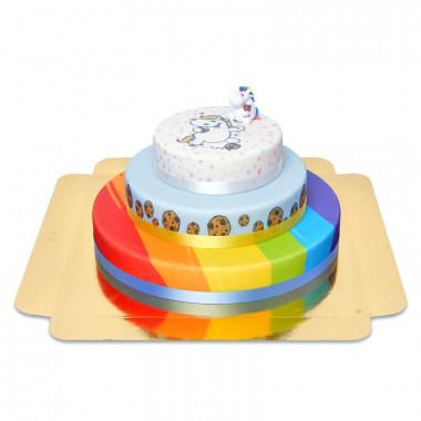 Dreistöckige Pummeleinhorn-Torte mit Figur