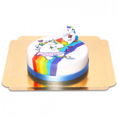 Pummeleinhorn auf Regenbogen-Torte
