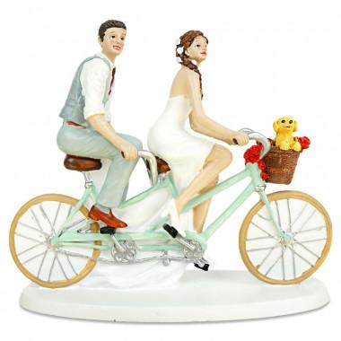Tortenfigur - Fahrrad fahrendes Brautpaar