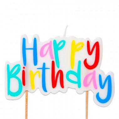 Tortenkerze, Happy Birthday Bunt