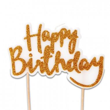 Tortenkerze, Happy Birthday Gold