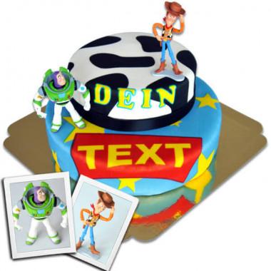 Cowboy Woody & Buzz Lightyear auf zweistöckiger Torte mit Band