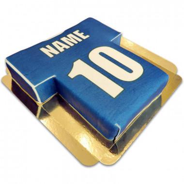 Fußballtrikot-Torte, blau mit weiß