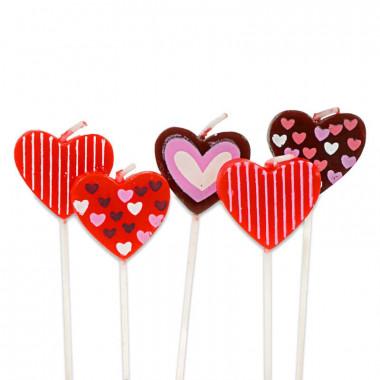 5 Herz-Tortenkerzen