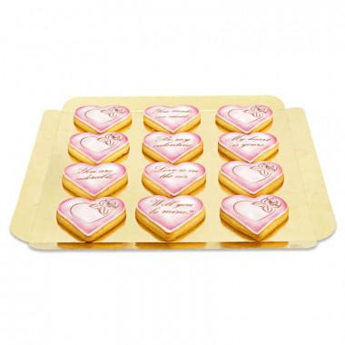 Valentinstags-Kekse mit Liebesbotschaft - Rosa (12 Stück)