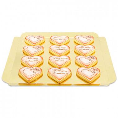 Valentinstags-Kekse mit Liebesbotschaft - Rot (12 Stück)
