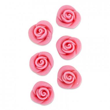 Marzipan Rosen Pink, ca. 25 mm (6er Set)