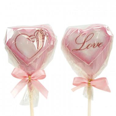 Valentinstags-Herz-Cake-Pops Rosa (12 Stück)