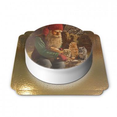 Weihnachtswichtel füttert Katzen - Jan Bergerlind