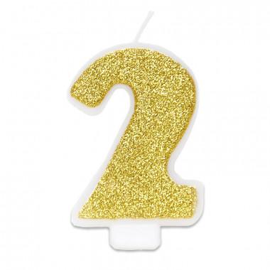 Goldene Zahlen-Kerze 2, ca.6 cm