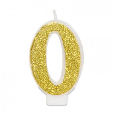 Goldene Zahlen-Kerze 0, ca.6 cm