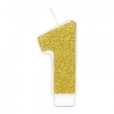 Goldene Zahlen-Kerze 1, ca.6 cm