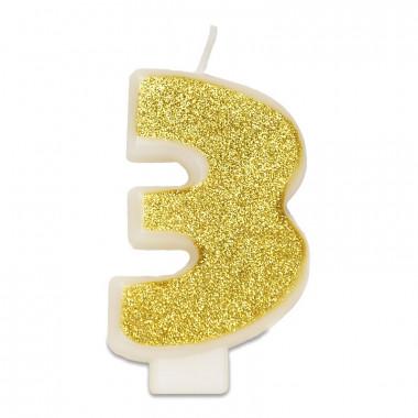 Goldene Zahlen-Kerze 3, ca.6 cm