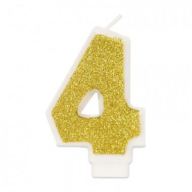 Goldene Zahlen-Kerze 4, ca.6 cm