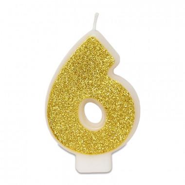 Goldene Zahlen-Kerze 6, ca.6 cm