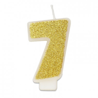 Goldene Zahlen-Kerze 7, ca.6 cm