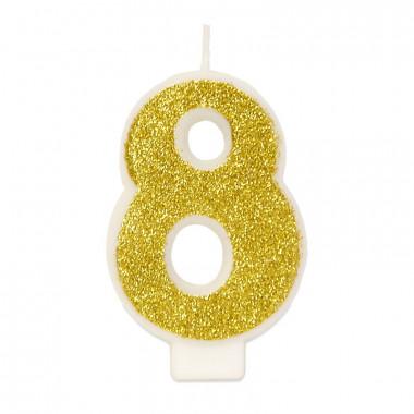 Goldene Zahlen-Kerze 8, ca.6 cm