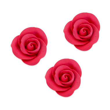 Zucker-Rose Rot, ca. 28 mm (3 Stück)