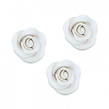 Zucker-Rose Weiß, ca. 28 mm (3 Stück)