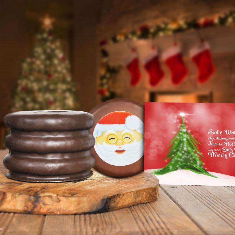 Weihnachtsmotiv Baumkuchen mit Grußkarte