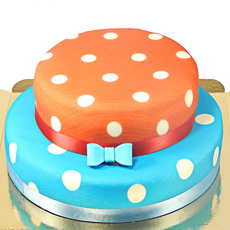 Beispiel mit Blaue Torte mit weißen Punkten und Tortendekorationen
