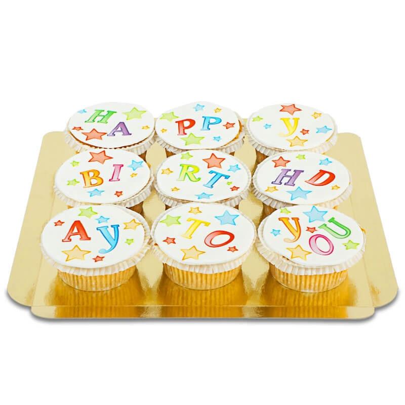 9 bunte Happy Birthday To You Cupcakes