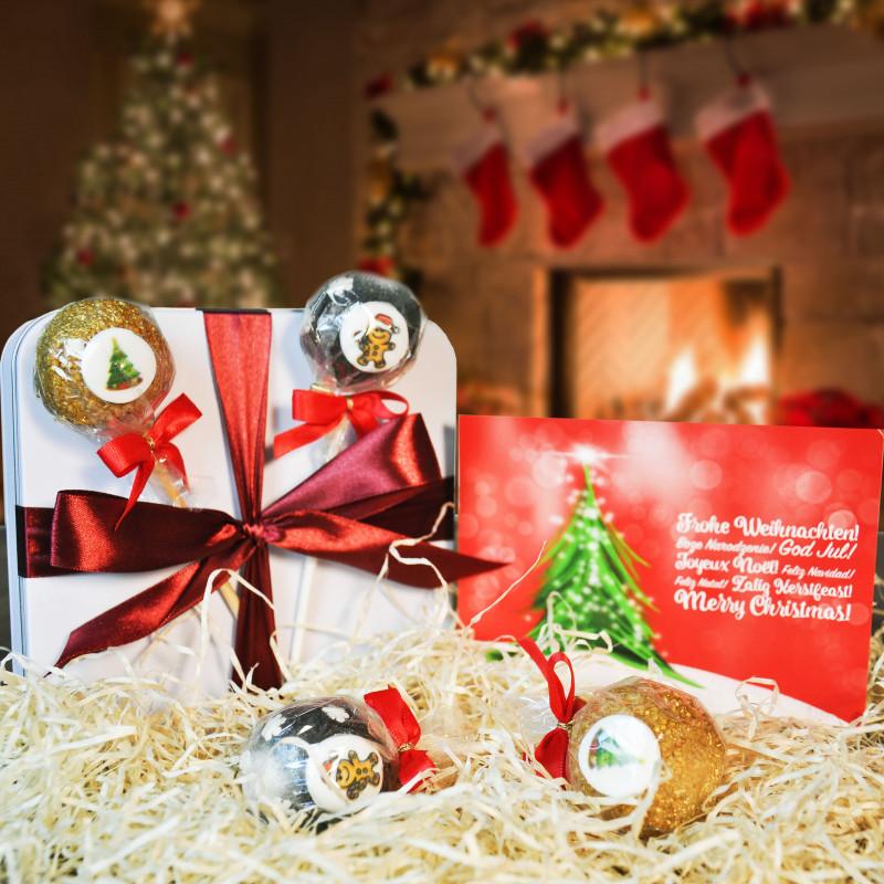 4 Weihnachts-Cake-Pops in Geschenkdose