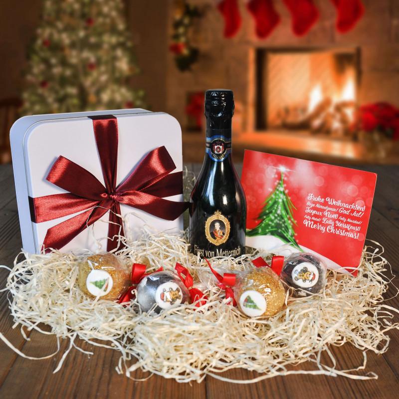 4 Weihnachts-Cake-Pops in Geschenkdose mit Sekt, 200ml