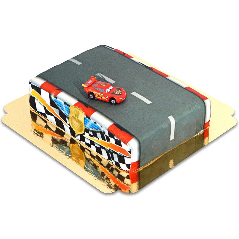 Lightning McQueen na torcie - torze wyścigowym