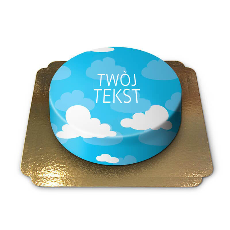 Niebieski tort w chmurki z Twoim tekstem