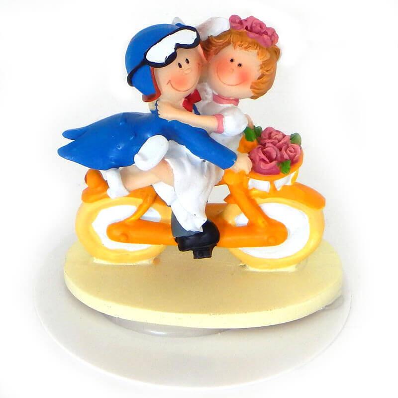 Hochzeitstorten-Dekoration: Brautpaar auf Fahrrad, Tortenfigur
